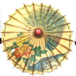 Hand painted Peacock & Flowers Rice Paper Parasol